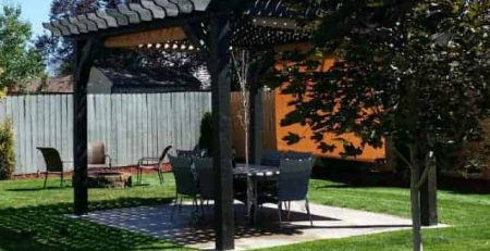 outdoor patio ideas painted pergola