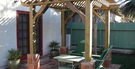 water saving yard design pergola