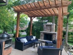 outdoor fireplace ideas with a pergola