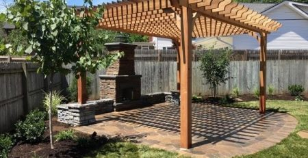 Outdoor Fireplace with Pergola - 14x19 Big Kahuna Pergola