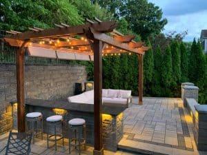 Outdoor pergola seating area