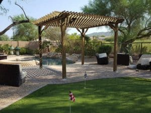 Pine Pergola with Putting Green and Pool