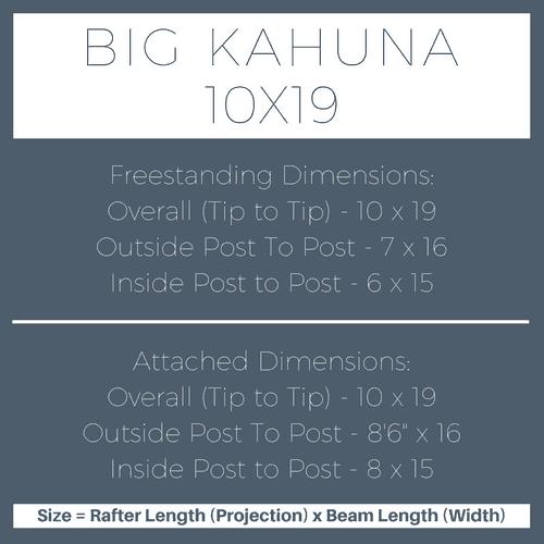Big Kahuna 10x19 Pergola Kit Dimensions