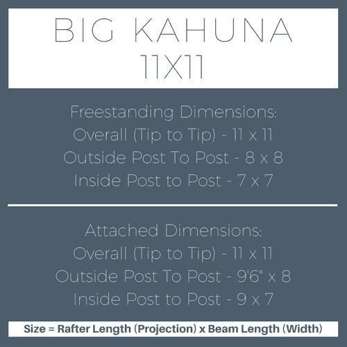 Big Kahuna 11x11 Pergola Kit Dimensions