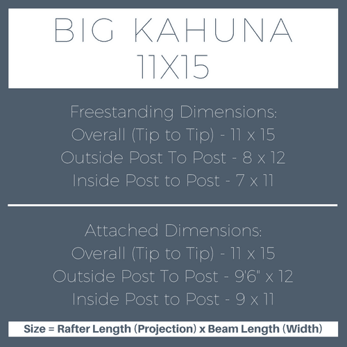 Big Kahuna 11x15 Pergola Kit Dimensions