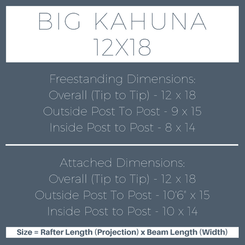 Big Kahuna 12x18 Pergola Kit Dimensions