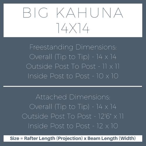 Big Kahuna 14x14 Pergola Kit Dimensions