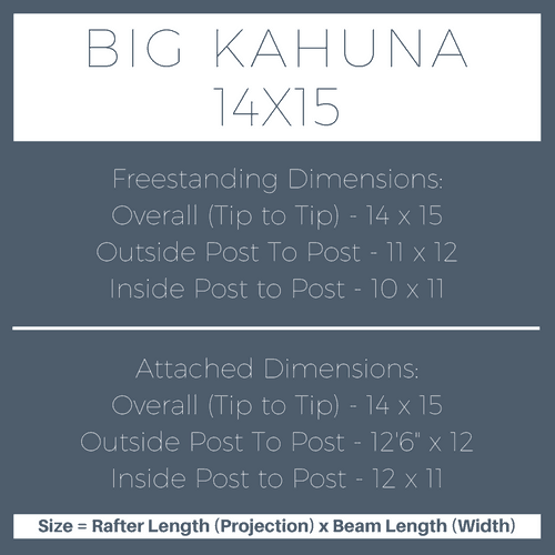 Big Kahuna 14x15 Pergola Kit Dimensions