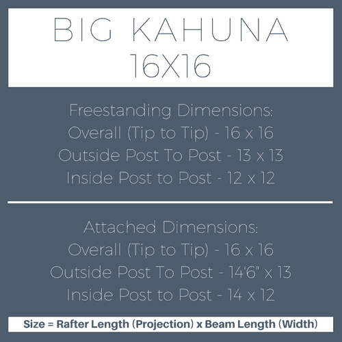 Big Kahuna 16x16 Pergola Kit Dimensions