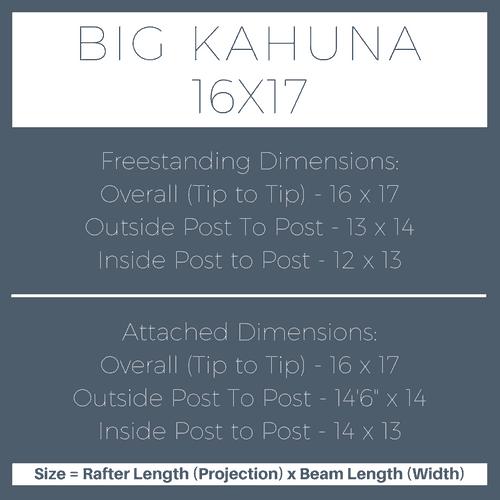 Big Kahuna 16x17 Pergola Kit Dimensions