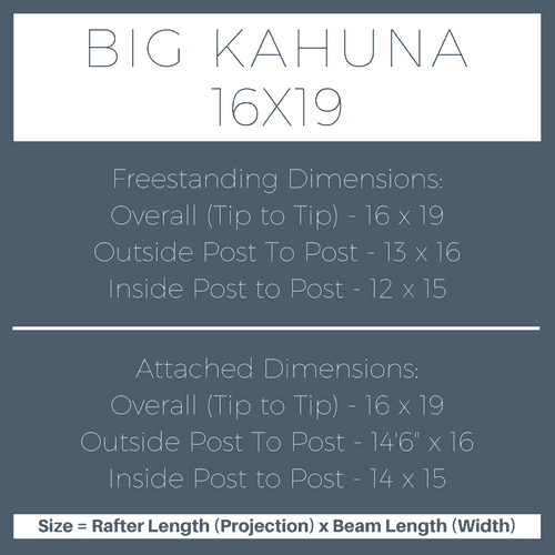 Big Kahuna 16x19 Pergola Kit Dimensions