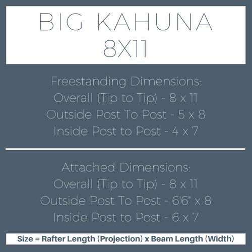 Big Kahuna 8x11 Pergola Kit Dimensions