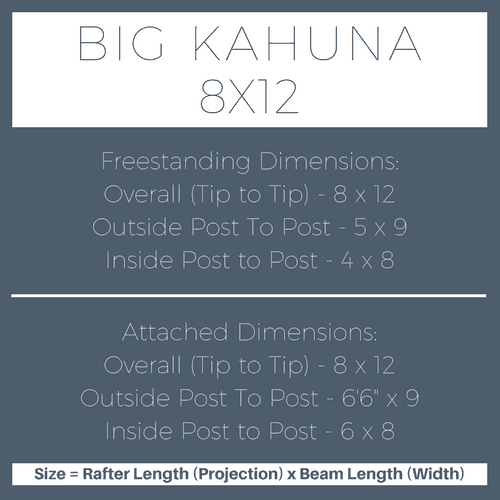 Big Kahuna 8x12 Pergola Kit Dimensions