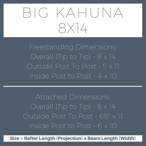 Big Kahuna 8x14 Pergola Kit Dimensions