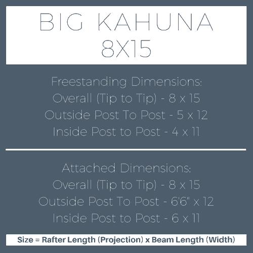 Big Kahuna 8x15 Pergola Kit Dimensions