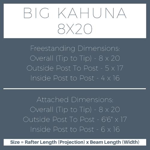 Big Kahuna 8x20 Pergola Kit Dimensions