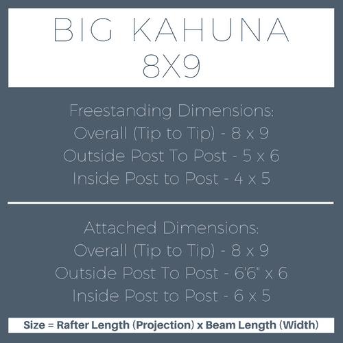 Big Kahuna 8x9 Pergola Kit Dimensions