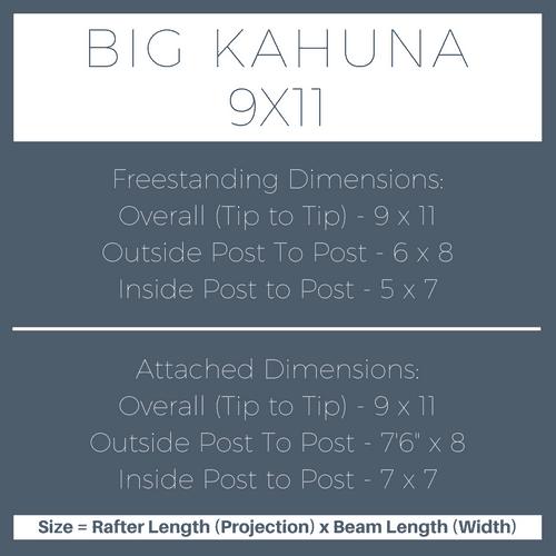 Big Kahuna 9x11 Pergola Kit Dimensions