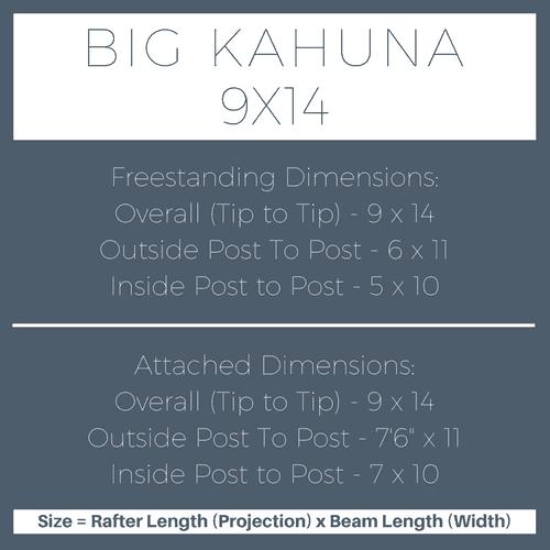 Big Kahuna 9x14 Pergola Kit Dimensions
