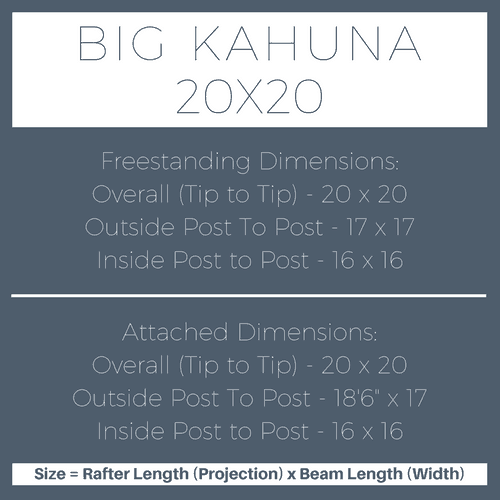 Big Kahuna 20x20 Pergola Kit Dimensions