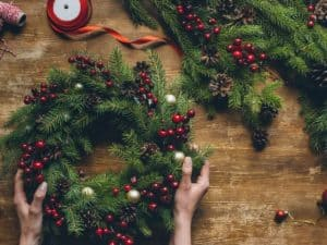 Holiday wreath for pergola and patio decorating