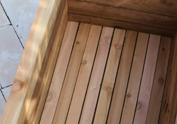 small cedar planter box interior
