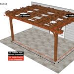 18×20 Fedora Pergola Sketch – Attached