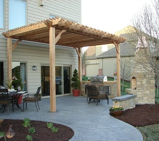 Freestanding 14x20 Cedar Pergola with Outdoor Fireplace – Big Kahuna
