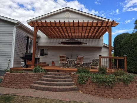 Stained Wood Attached Pergola