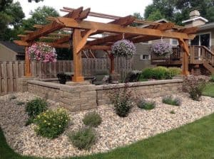 The Fedora Pergola over outdoor Seating Outside of House