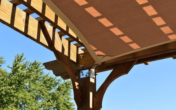 Shade Sail attachment with bracket and turnbuckle