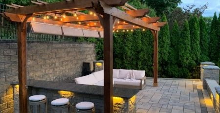 Pergola Lighting Attached to Fedora Pergola