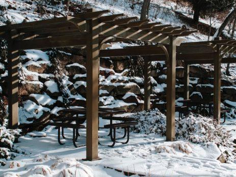 A pergola in the snow